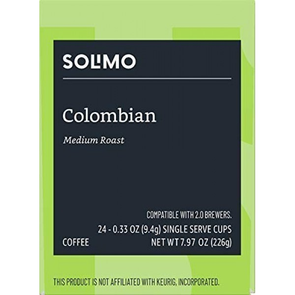 Amazon Brand - 24 Ct. Solimo Coffee Pods, Colombian, Compatible ...