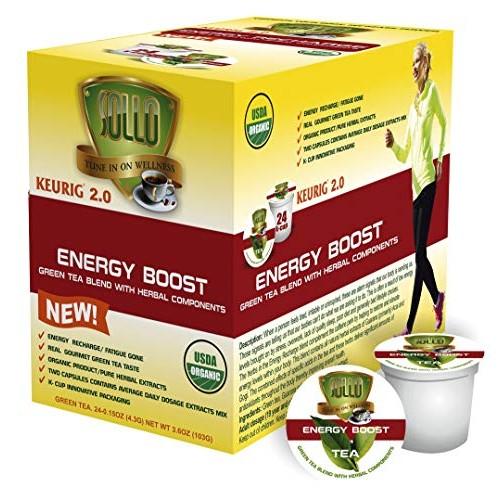 SOLLO Organic Green Tea Pods Compatible With 2.0 K-Cup Keurig Br...