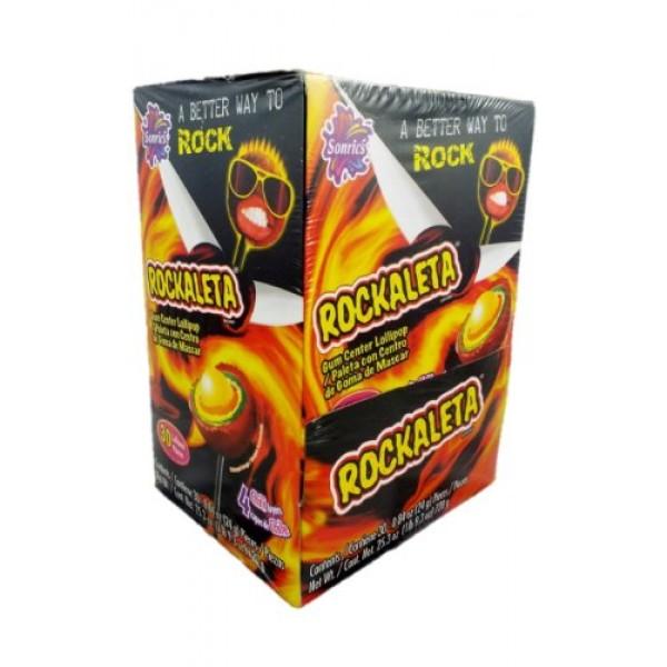 Sonrics Rockaleta Lollipop Chili Layered with Gum Center - 30 Ct...
