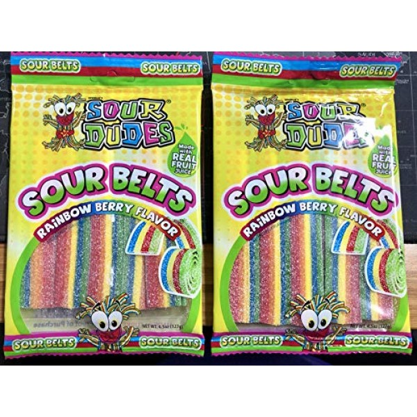 Sour Dudes 1 Bag Sour Belts - Rainbow Berry Flavor - Made With...