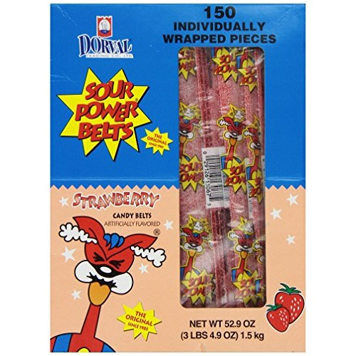 Sour Power Wrapped Belts, Strawberry, Individually Wrapped Belts...