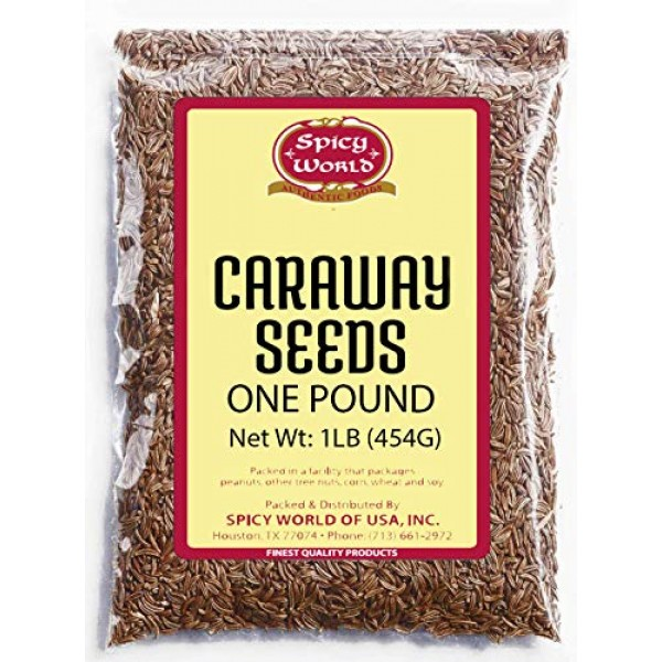 Caraway Seeds Whole 1 Pound 16 ounce Bulk - by Spicy World - P...