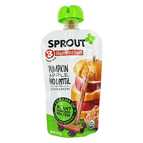 Sprout - Baby Food Stage 3, Pumpkin Apple Lentil Cinnamon - 4 oz...
