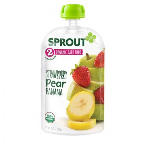 Sprout Organic Baby Food, Stage 2 Pouches, Strawberry Pear Banan...