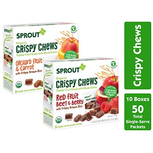 Sprout Organic Crispy Chews Toddler Snacks, Variety Pack, 5 Coun...