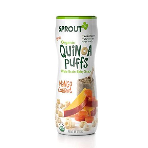 Sprout Organic Carrot Peach Mango Puffs Baby Snack 1.5 Ounce Pa...