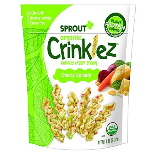 Sprout Organic Crinklez Toddler Snacks, Cheesy Spinach, 1.48 Oun...