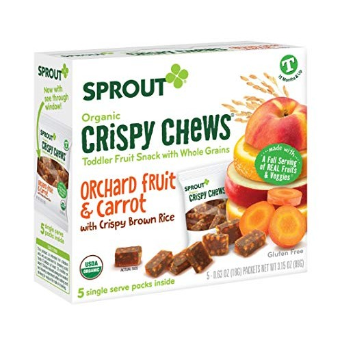 Sprout Organic Crispy Chews Toddler Snacks, Orchard Fruit & Carr...