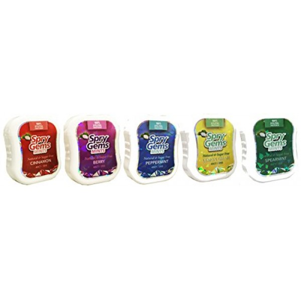 Spry Gems Mints Natural and Sugar Free Variety Pack of 5