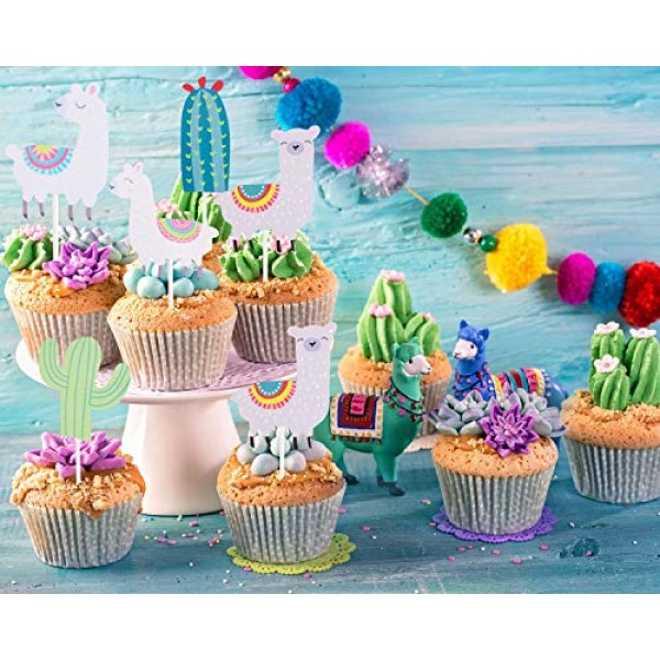 25 PCS Llama Alpaca Cactus Cupcake Toppers Cake Picks Décor for ...