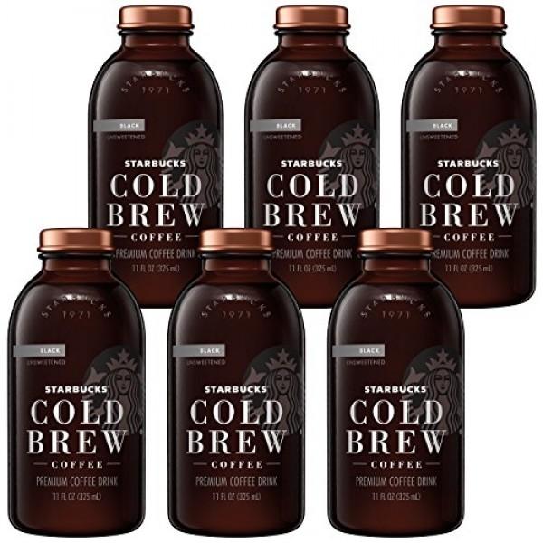Starbucks Cold Brew Coffee, Black Unsweetened, 11 oz Glass Bottl...