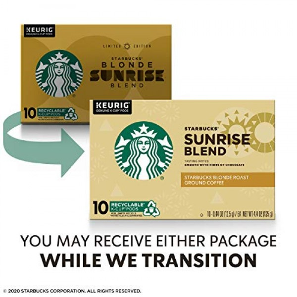 Starbucks Blonde Roast K-Cup Coffee Pods — Sunrise Blend for Keu...