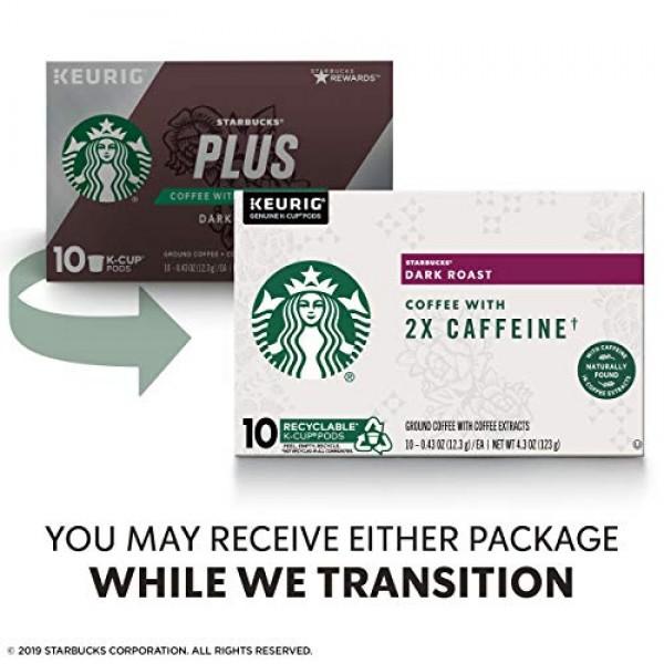 Starbucks Dark Roast K-Cup Coffee Pods with 2X Caffeine — for Ke...