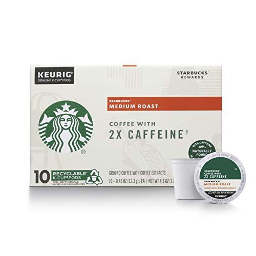 Starbucks Medium Roast K-Cup Coffee Pods with 2X Caffeine — for ...