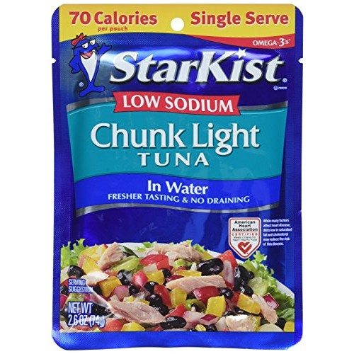 Starkist Low Sodium Chunk Light Tuna in Water 2.6oz Pouch Pack ...