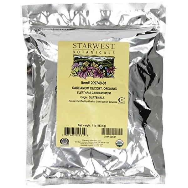 Starwest Botanicals Organic Decorticated Cardamom Seeds, 1 Pound...
