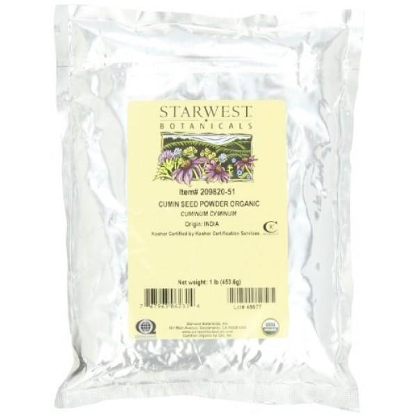 Starwest Botanicals Organic Ground Cumin Seed Powder, 1 Pound Bu...