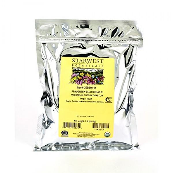 Starwest Botanicals Organic Whole Fenugreek Seed, 1 Pound Bulk S...
