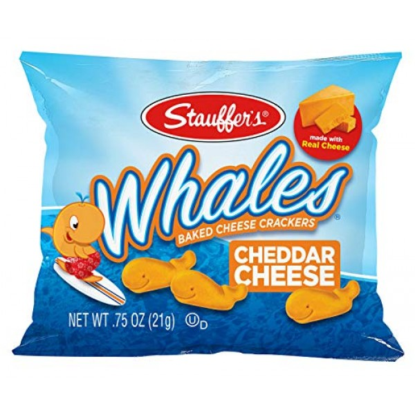 Stauffers Baked Cheddar Whale Cheese Cracker Snack Packs, .75 O...