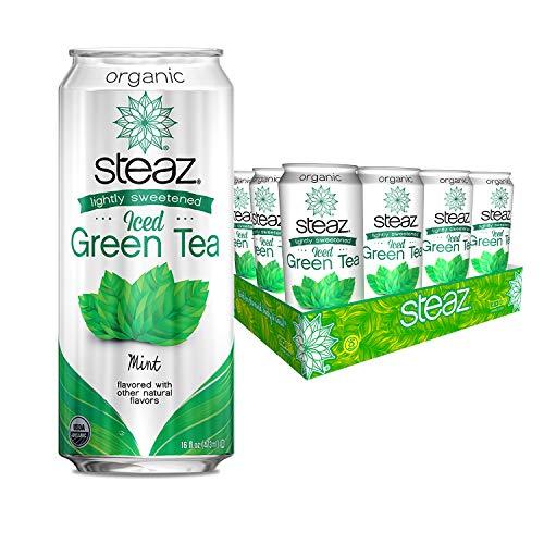 Steaz Organic Iced Teaz, Green Tea with Mint, 16-Ounce Cans Pac...