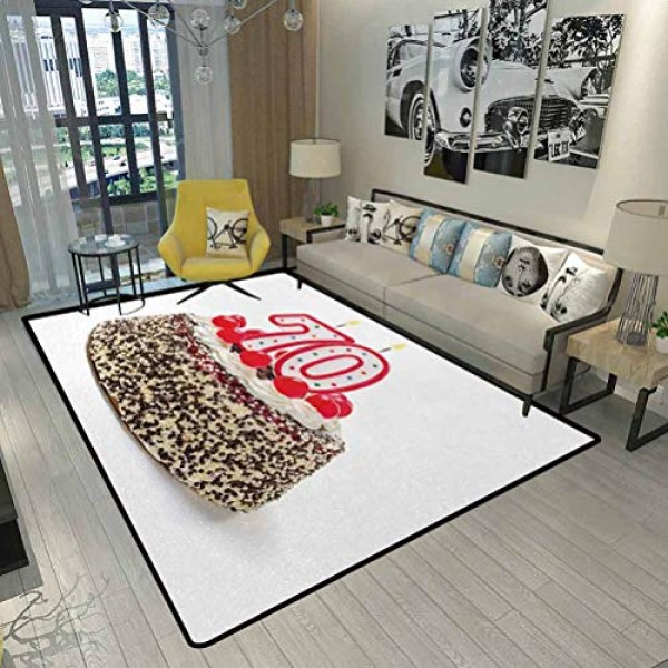 70th Birthday Christmas Rugs Kitchen Birthday Cake with 70 Numbe...