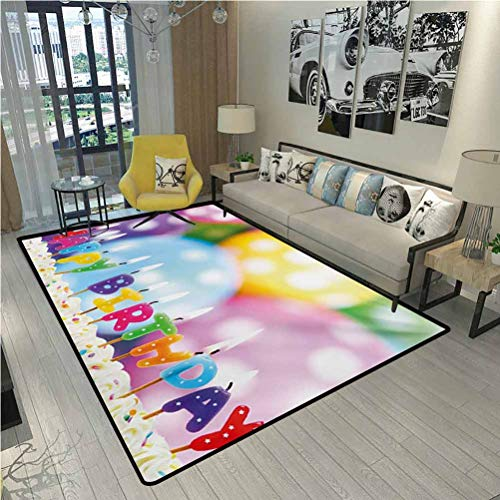 Kids Birthday Rugs for Inside House Celebration Colorful Candles...