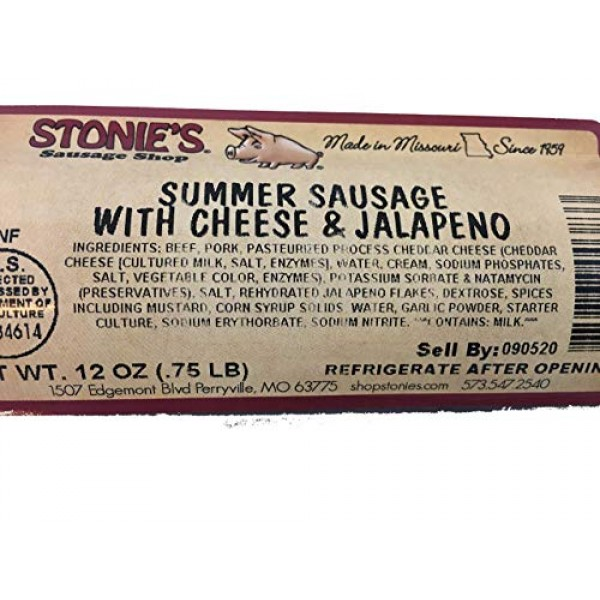 Stonies Summer Sausage With Cheese and Jalapeno 12 oz. Charcute...