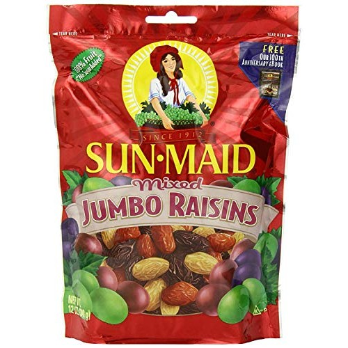 Sun Maid Mixed Jumbo Raisins, 12-Ounce Pouches Pack of 5