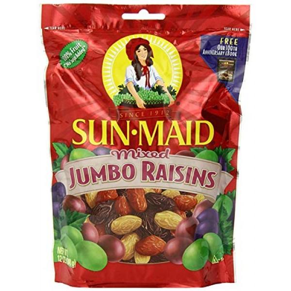 Sun Maid Mixed Jumbo Raisins, 12-Ounce Pouches Pack of 5