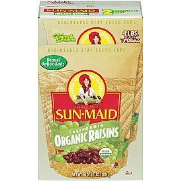 SCS Sun Maid California Organic Raisins - 4 Lbs Split in 2 Bags