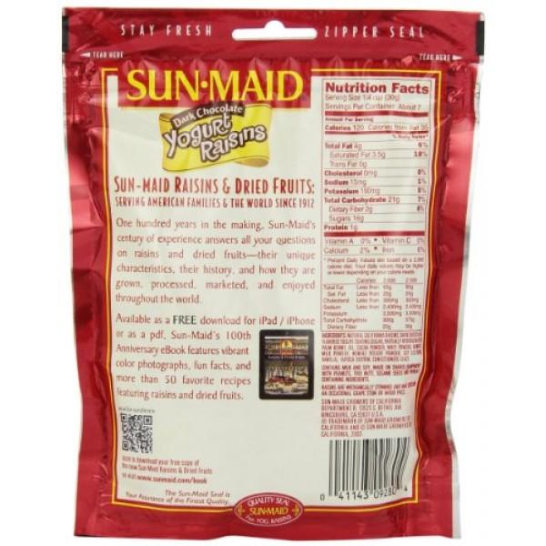 Sun Maid Dark Chocolate Yogurt Raisins, 7-Ounce Pouches Pack of 6