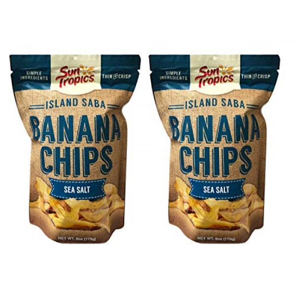 Sun Tropics Island Thin Banana Chips 6oz, 2 Pack Sea Salt