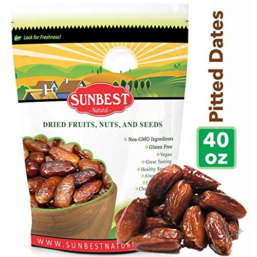 Sunbest Sun-Dried Pitted Dates in Resealable Bag,Premium Quality...
