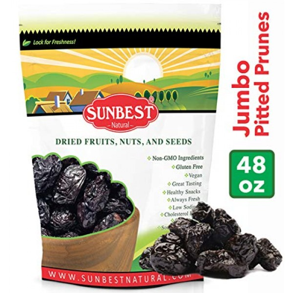 SUNBEST Pitted Dried Prunes, Dried Plum - Pitted in Resealable B...