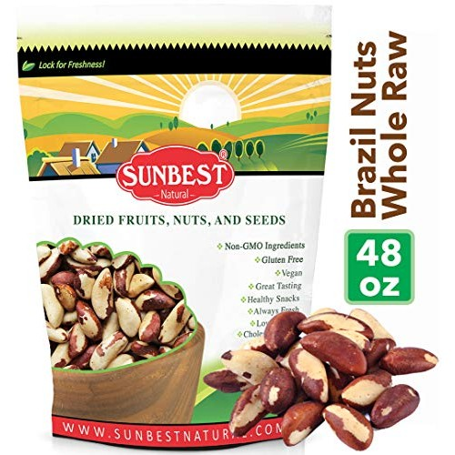 SUNBEST Whole, Raw, Shelled Brazil Nuts in Resealable Bag … 3 Lb