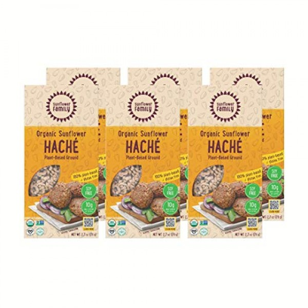 6-Pack Organic Sunflower Haché - Single-Ingredient Meat Substitu...