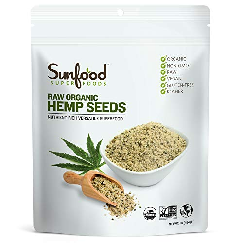 Sunfood Superfoods Raw Organic Shelled Hemp Seeds. Non-GMO, Vega...