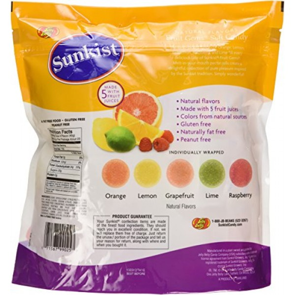 Sunkist Individually-Wrapped Fruit Gems 32OZ 2 LB Pouch