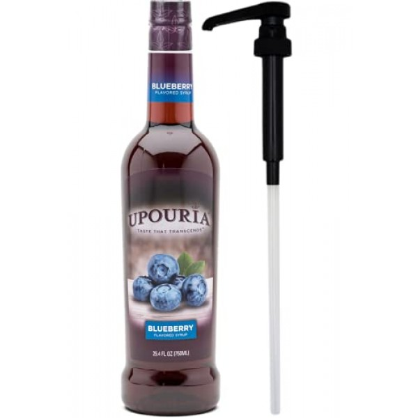 Upouria Blueberry Flavored Syrup, 100% Vegan and Gluten-Free, 75...