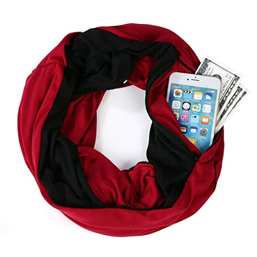 Women Loop Scarf Infinity Wrap Hidden Zipper Pocket Warm Travel ...