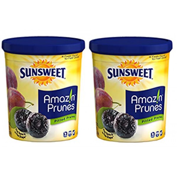 Sunsweet Amazin Prunes, Pitted Prunes, TWO 16 oz Containers of P...