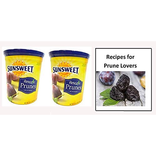 Sunsweet Amazin Pitted Prunes Bundle, TWO 16 oz Canisters of Dri...