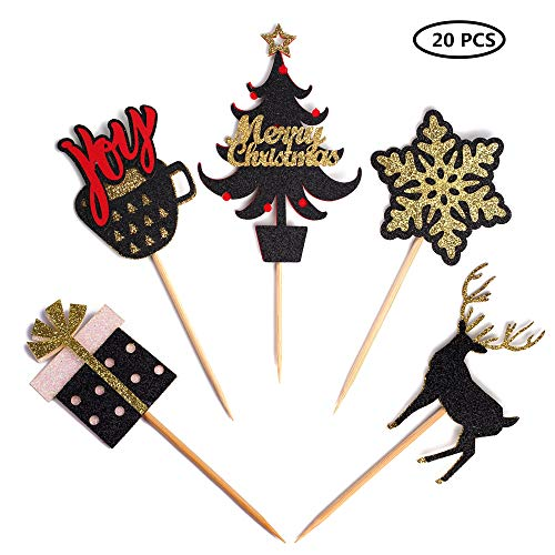 20 Pack Christmas Cupcake Toppers Black and Gold Glitter Cake To...