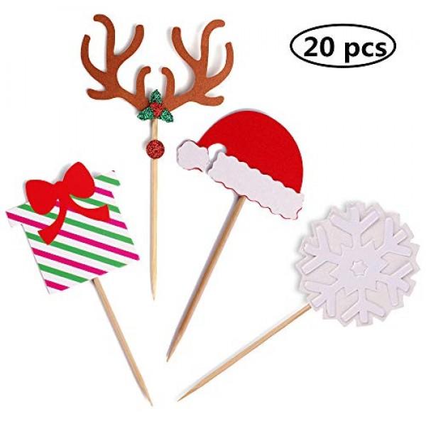 Suntop Set of 20 Christmas Cupcake Toppers Picks Party Decoratio...