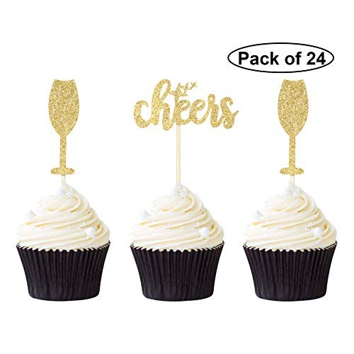 Pack of 24 Gold Glitter Cheers Cupcake Toppers Wine Glass Cupcak...