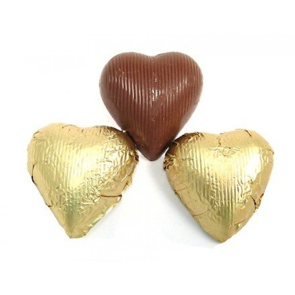 Gold Foiled Milk Chocolate Hearts 1 Pound Bag