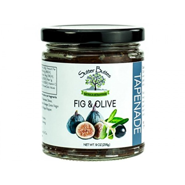 Sutter Buttes Olive Tapenade with Dried Figs 9 oz Jar; Gourmet...
