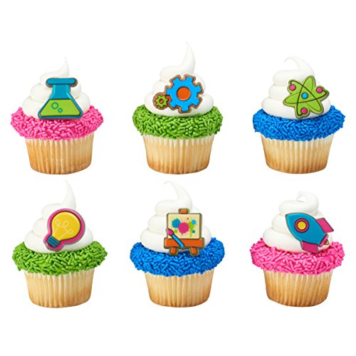 Mad Scientist STEM Science Cupcake Topper Rings - Set of 12