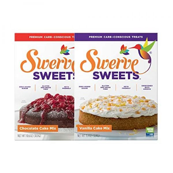 Swerve Sweets, Cake Mix Bundle, Chocolate and Vanilla Cake Mixes