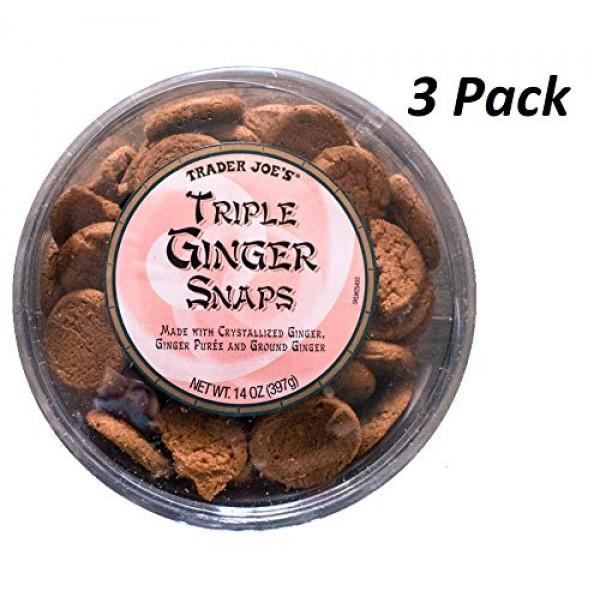 Trader Joes Triple Ginger Snaps - 3 Pack 14 oz tubs each